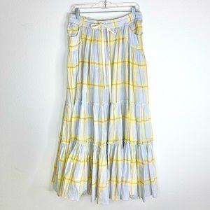 Free People Blue & Yellow Plaid Maxi Skirt Medium